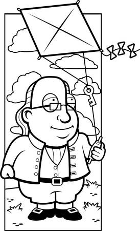 founding fathers: A cartoon Ben Franklin with a key on a kite string.