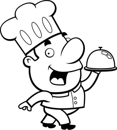 A happy cartoon chef with a serving tray.