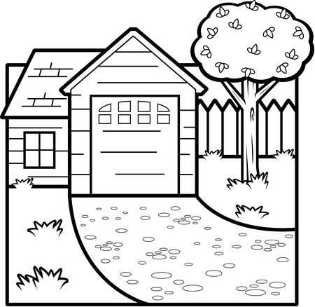 Een cartoon illustratie van de voorkant van een huis.