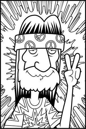 A happy cartoon hippie making the peace sign. Ilustração