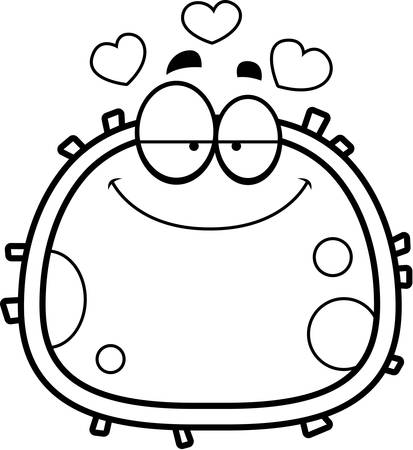 infatuated: A cartoon illustration of a red blood cell looking in love.