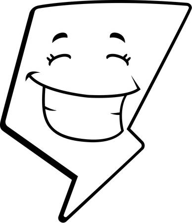 A cartoon lightning bolt happy and smiling.