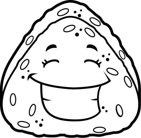 A cartoon rice ball smiling and happy. Illusztráció