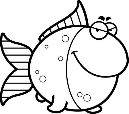 A cartoon illustration of a goldfish with a sly expression. 向量圖像