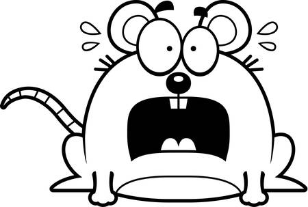 terrified: A cartoon illustration of a mouse looking terrified. Illustration