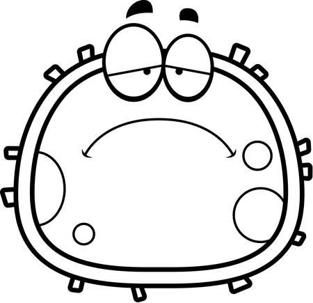 red blood cell: Una ilustraci�n de dibujos animados de un gl�bulo rojo que mira triste. Vectores