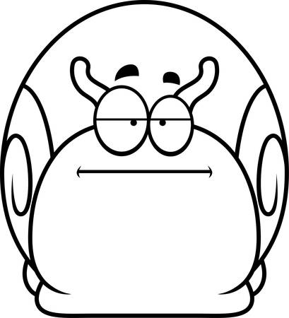 bored: A cartoon illustration of a snail looking bored. Illustration
