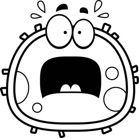 red blood cell: A cartoon illustration of a red blood cell looking scared.