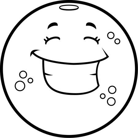 smirking: A cartoon illustration of an orange smiling and happy.