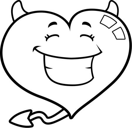 grins: A cartoon devil heart smiling and happy. Illustration