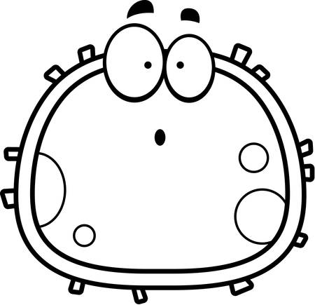 red blood cell: A cartoon illustration of a red blood cell looking surprised.