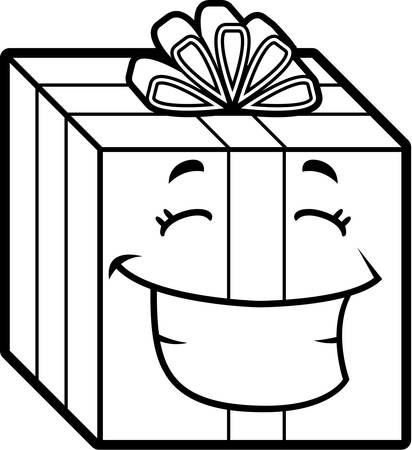gift wrapped: A cartoon wrapped gift smiling and happy.