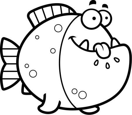 A cartoon illustration of a piranha looking hungry. Illustration