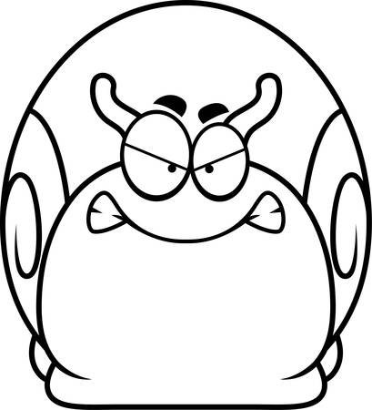 A cartoon illustration of a snail looking angry. Çizim