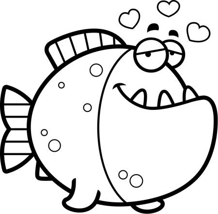 piranha: A cartoon illustration of a piranha with an in love expression. Illustration