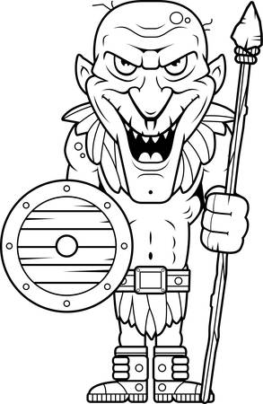 guy standing: A cartoon illustration of an evil looking goblin with a spear. Illustration