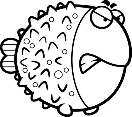 A cartoon illustration of a pufferfish with an angry expression.