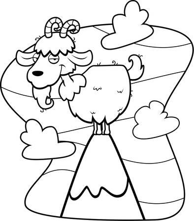 peak: A cartoon goat on top of a mountain peak.