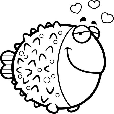 pufferfish: A cartoon illustration of a pufferfish with an in love expression.