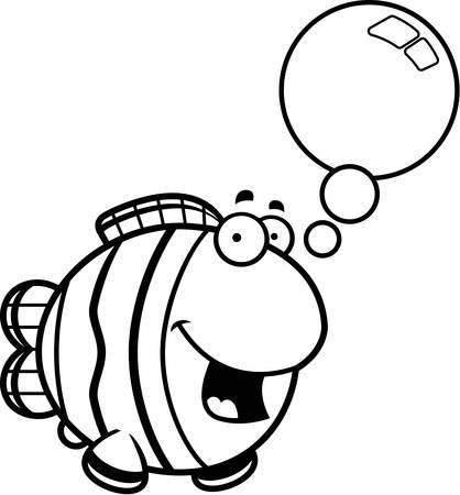 clownfish: A cartoon illustration of a clownfish talking. Illustration