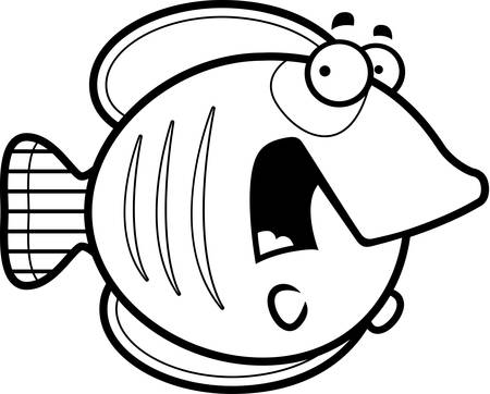 A cartoon illustration of a butterflyfish looking scared. Illustration
