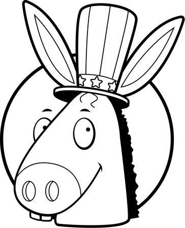 笑みを浮かべて民主党のロバと漫画アイコン。  イラスト・ベクター素材