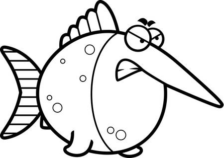 pez espada: Una ilustraci�n de dibujos animados de un pez espada con una expresi�n enojada. Vectores