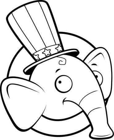웃 고 공화당 코끼리 만화 아이콘입니다. 일러스트