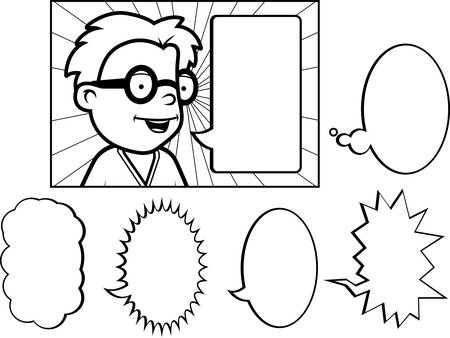 A happy cartoon child talking with word bubbles.