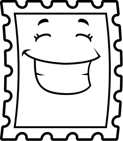 A cartoon postage stamp smiling and happy.
