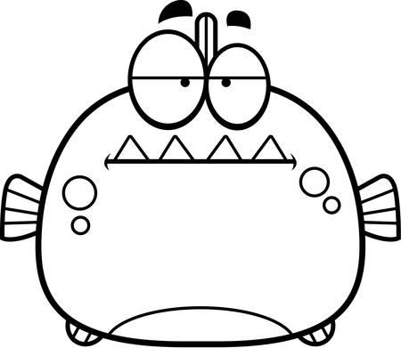 A cartoon illustration of a piranha looking bored.