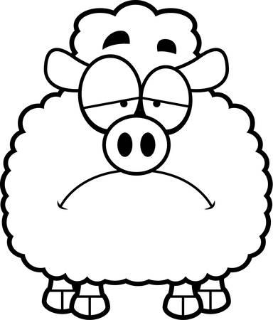 frowning: A cartoon illustration of a lamb looking sad.