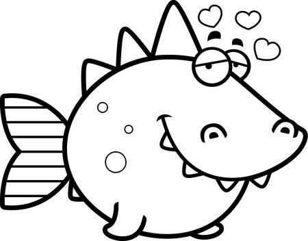 prehistoric fish: A cartoon illustration of a prehistoric fish with an in love expression.