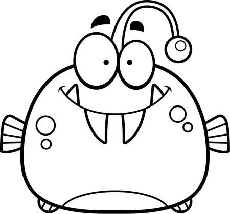 smirking: A cartoon illustration of a viperfish smiling. Illustration