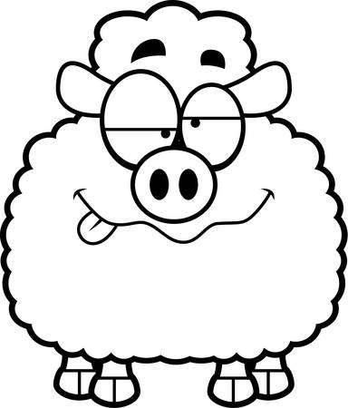 intoxicated: A cartoon illustration of a lamb looking drunk.