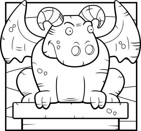 gargouille: Un heureux gargouille de pierre de bande dessin�e perch� sur une corniche.