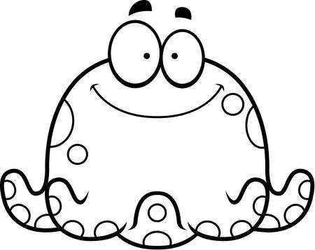 smilling: A cartoon illustration of a octopus smiling.