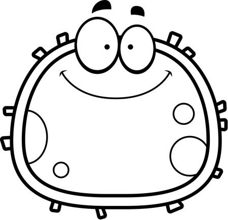 A cartoon illustration of a red blood cell smiling. Çizim