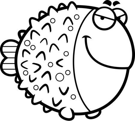 A cartoon illustration of a pufferfish with a sly expression.