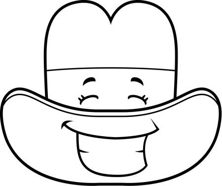 grins: A cartoon cowboy hat happy and smiling.