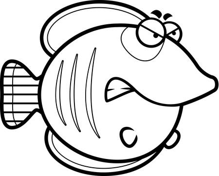 A cartoon illustration of a butterflyfish with an angry expression. Illustration