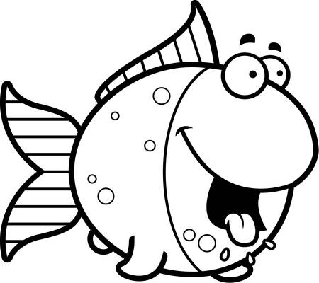 A cartoon illustration of a goldfish looking hungry.