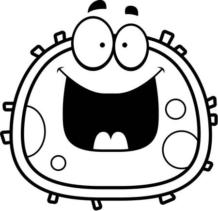 A cartoon illustration of a red blood cell looking happy.