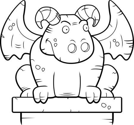 gargouille: Une gargouille monstre de pierre de bande dessin�e perch�.