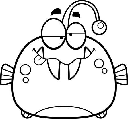 intoxicated: A cartoon illustration of a viperfish looking drunk. Illustration