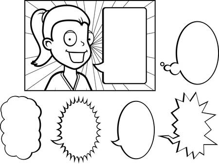 A cartoon girl talking with a variety of word bubbles.