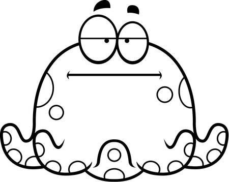 bored: A cartoon illustration of a octopus looking bored.