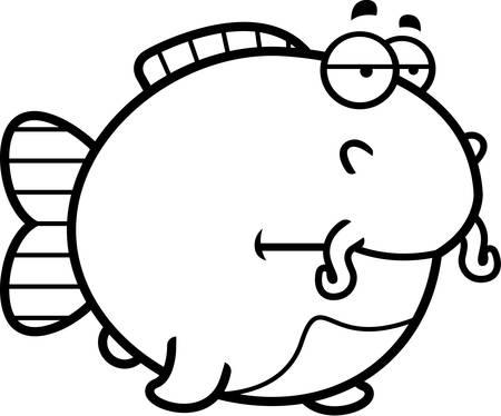bore: A cartoon illustration of a catfish looking bored.