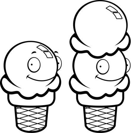 helado caricatura: Un cono de helado de la historieta que sonr�e y feliz. Vectores