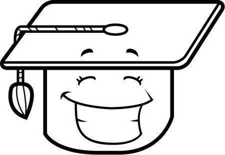 graduacion caricatura: Una graduaci�n de la tapa de dibujos animados sonriente y feliz.